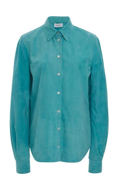 Salvatore Ferragamo Suede Button-Down Shirt in blue