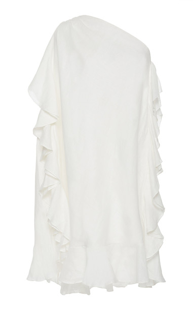 Kalita Zahara One Shoulder Linen Mini Dress in white