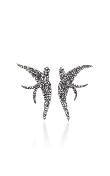 Lulu Frost Sparrow Hematite Stud Earrings in silver