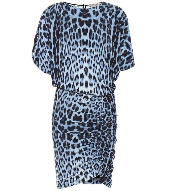 Roberto Cavalli Leopard-print jersey minidress in blue