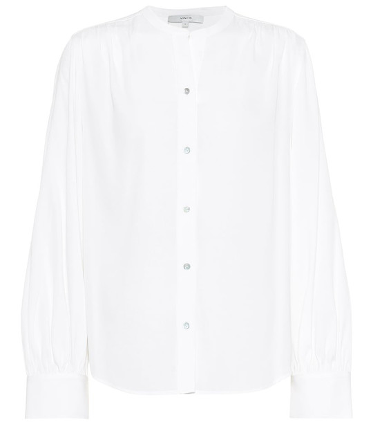 Vince Stretch silk-satin blouse in white