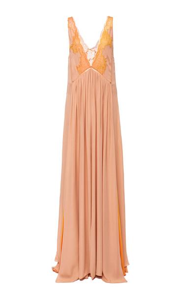 Jonathan Simkhai Ombre Chiffon Pleated Gown in orange