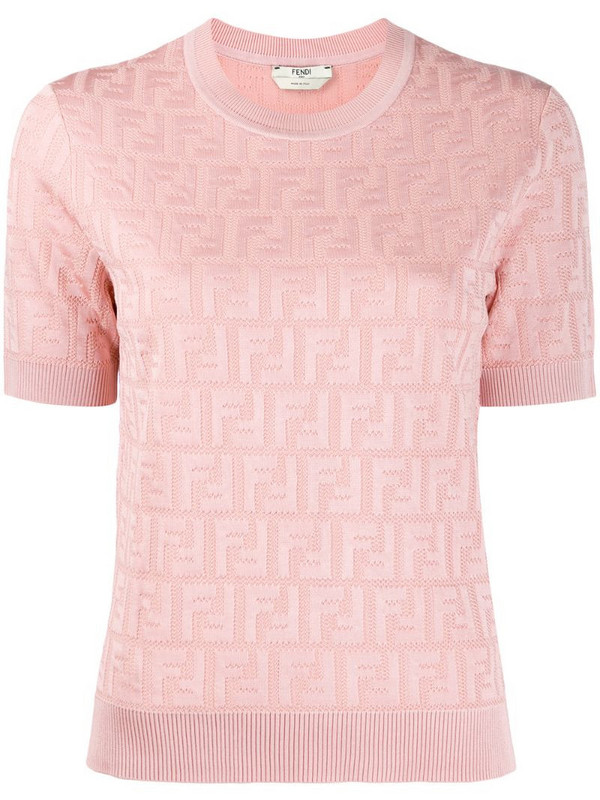 Fendi FF motif knitted top in pink
