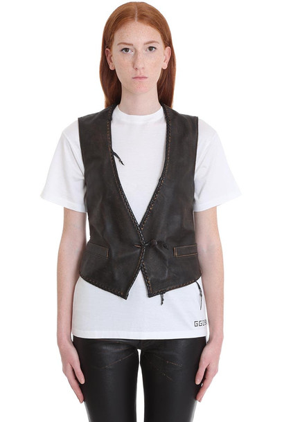 Golden Goose Shiori Vest In Black Leather