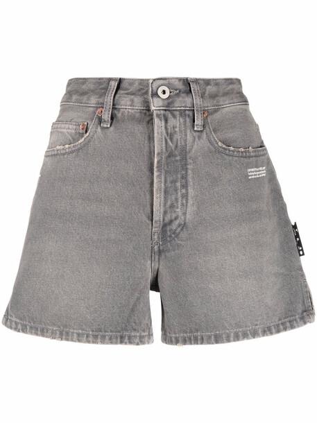 Off-White logo-print denim shorts - Grey
