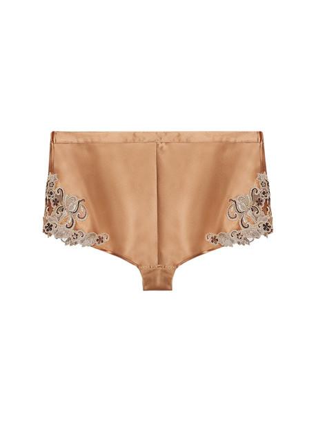 LA PERLA Maison Silk & Lace Pajama Shorts in gold