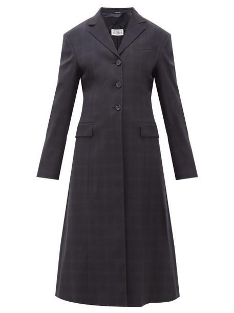 Maison Margiela - Single Breasted Windowpane Check Wool Blend Coat - Womens - Navy Multi
