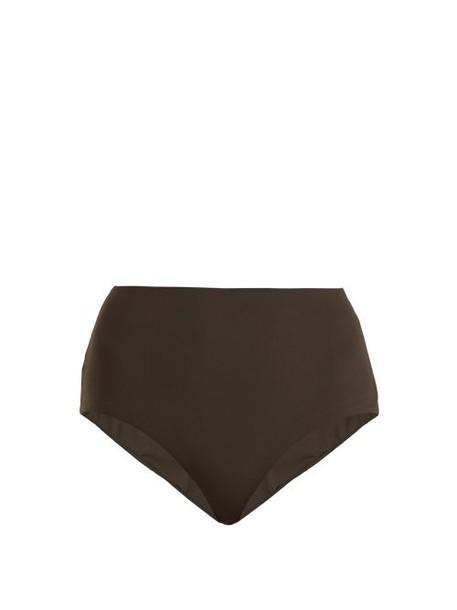 Dos Gardenias - Granny High Rise Bikini Briefs - Womens - Dark Khaki