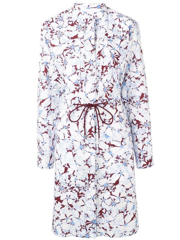 Cédric Charlier floral print shirt dress in white