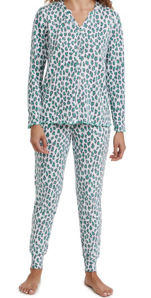 Emerson Road Animal Whisper Lux Pajama Set in white