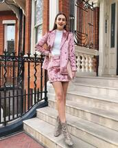 jacket,blazer,double breasted,velvet skirt,snake print,heel boots,ankle boots,white sweater,turtleneck sweater,pink bag