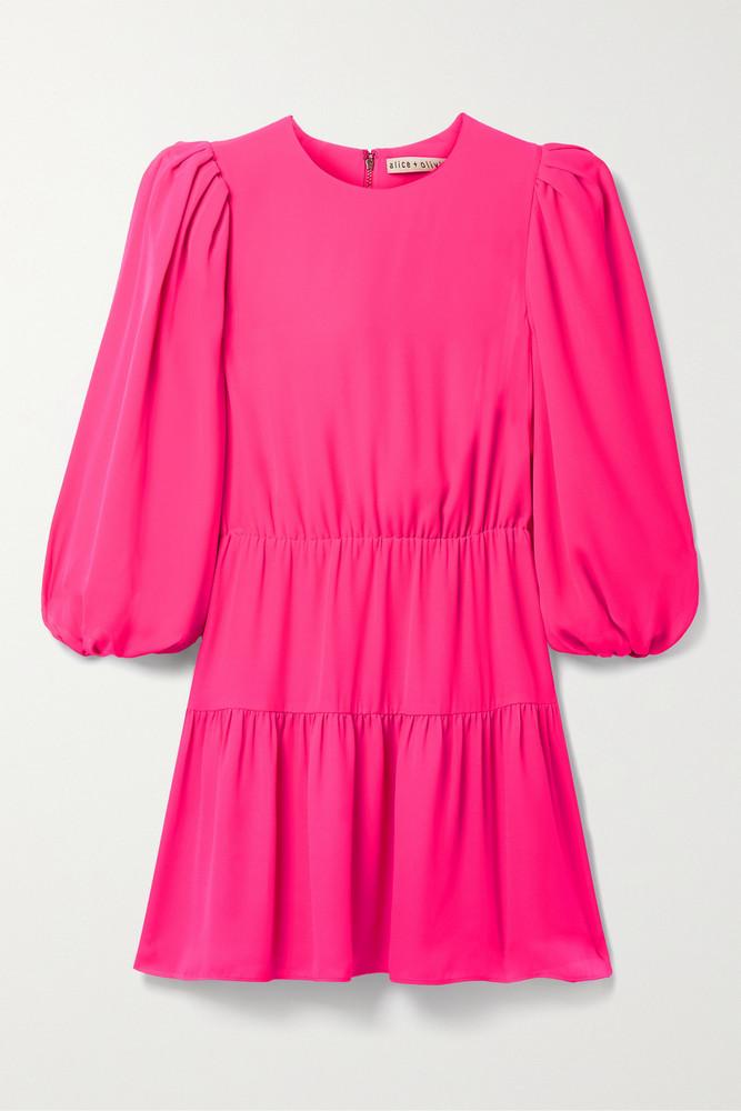 ALICE + OLIVIA ALICE + OLIVIA - Shayla Tiered Crepe Mini Dress - Pink