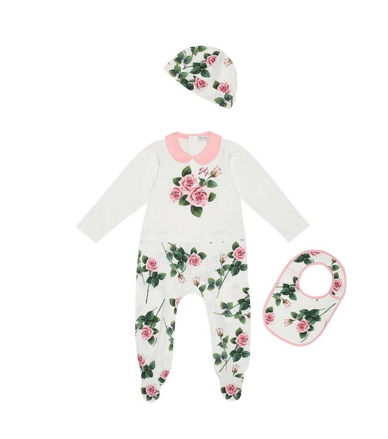 Dolce & Gabbana Kids Baby cotton onesie, hat and bib set in white