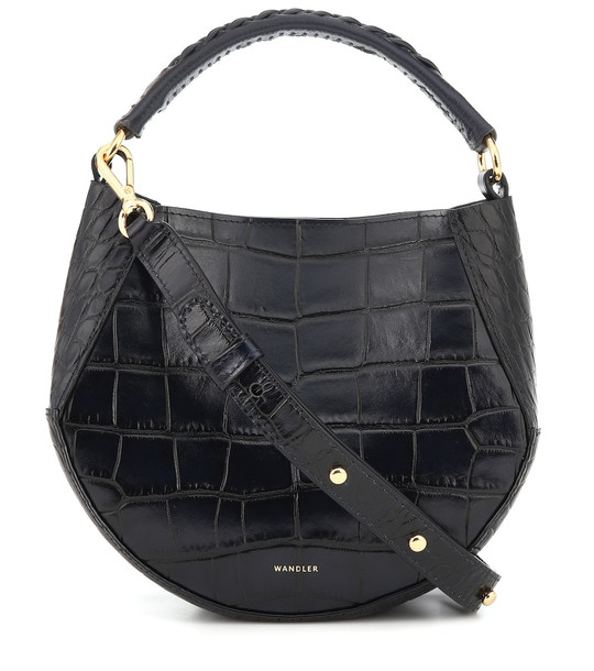 Wandler Corsa Mini croc-effect leather tote in black