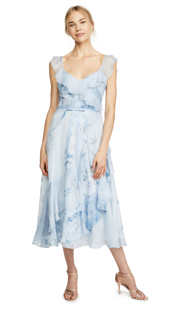 Marchesa Notte Printed Chiffon Gown in blue