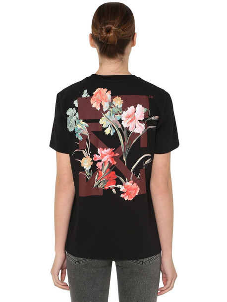 OFF WHITE Floral Print Cotton Jersey T-shirt in black