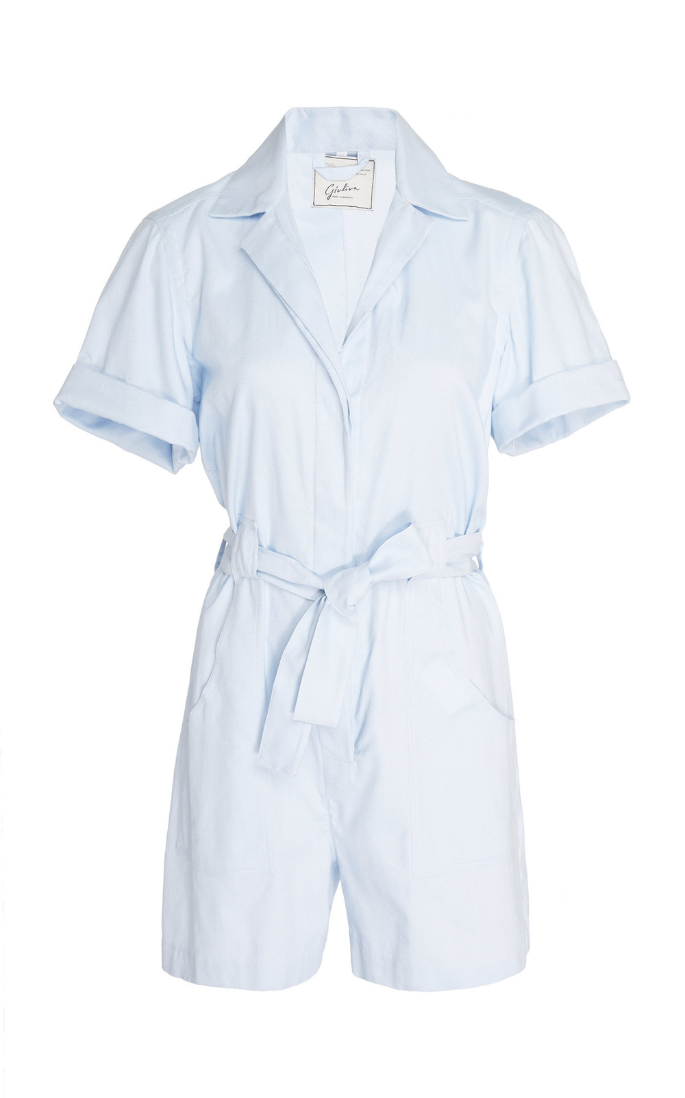 Giuliva Heritage Collection Sienna Belted Cotton-Poplin Jumpsuit in blue