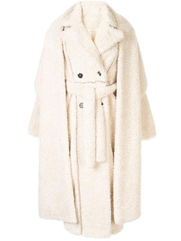 Ruban layered faux-fur coat in white