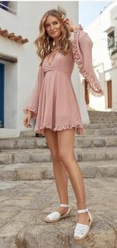 dress,pink,summer,light pink,polka dots,cute,mini,mini dress,summer dress,romantic summer dress