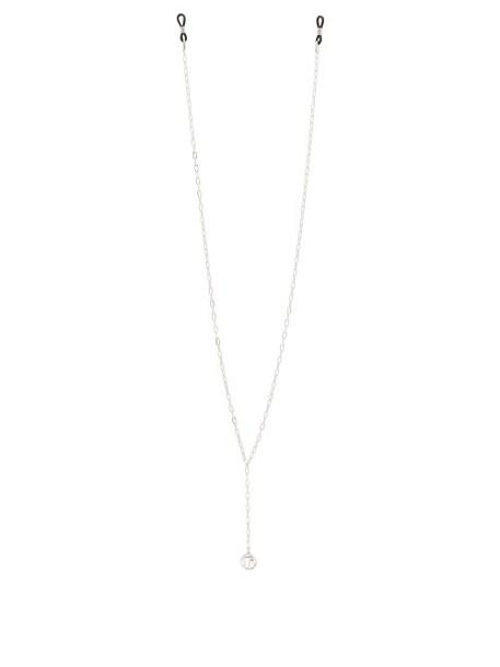 Linda Farrow - Logo Charm Gold Plated Sunglasses Chain - Womens - White Gold