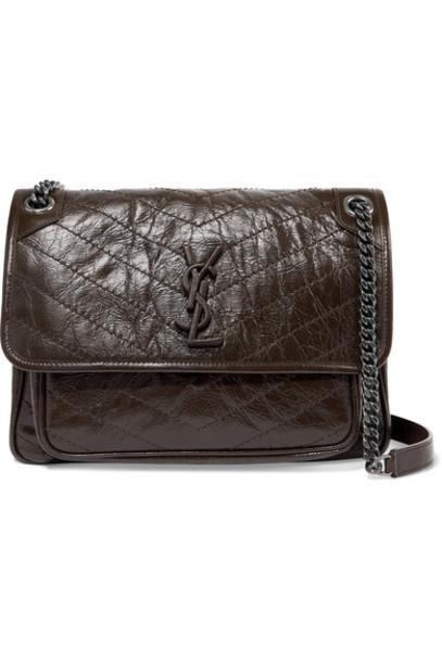 SAINT LAURENT - Niki Medium Quilted Crinkled Glossed-leather Shoulder Bag - Brown