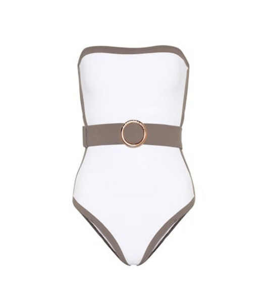 Alexandra Miro Whitney belted swimsuit in white