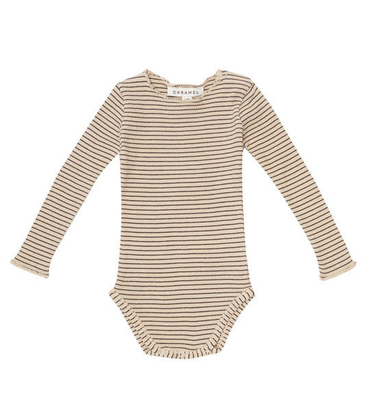 Caramel Baby Snipe striped cotton bodysuit in brown