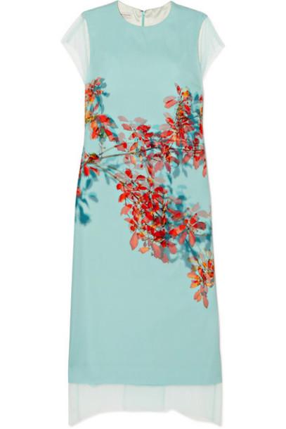 Dries Van Noten - Floral-print Silk-tulle And Silk Crepe De Chine Dress - Light blue