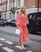 dress,red dress,long sleeve dress,white sandals,white bag,handbag