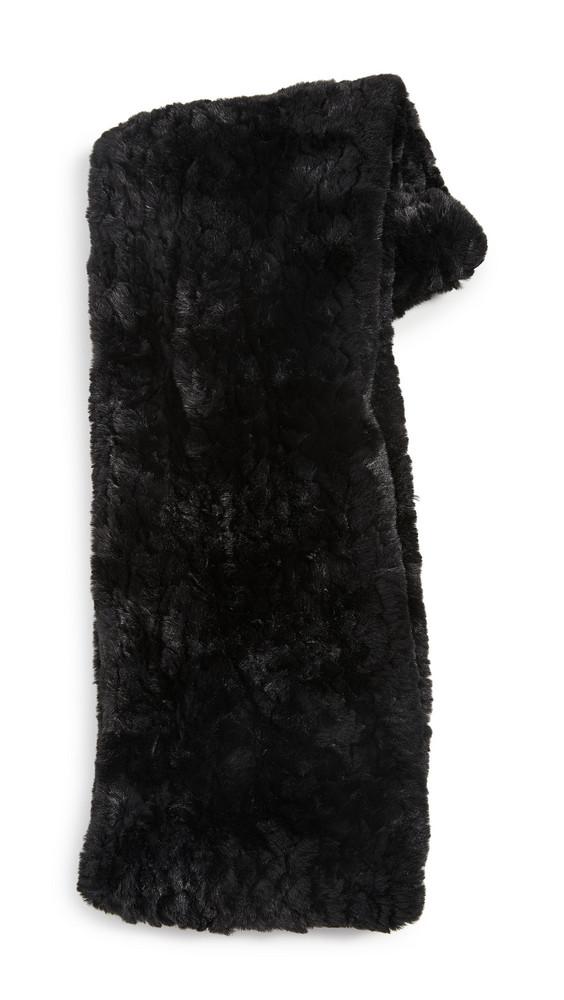 Jocelyn Knitted Faux Fur Infinity Scarf in black