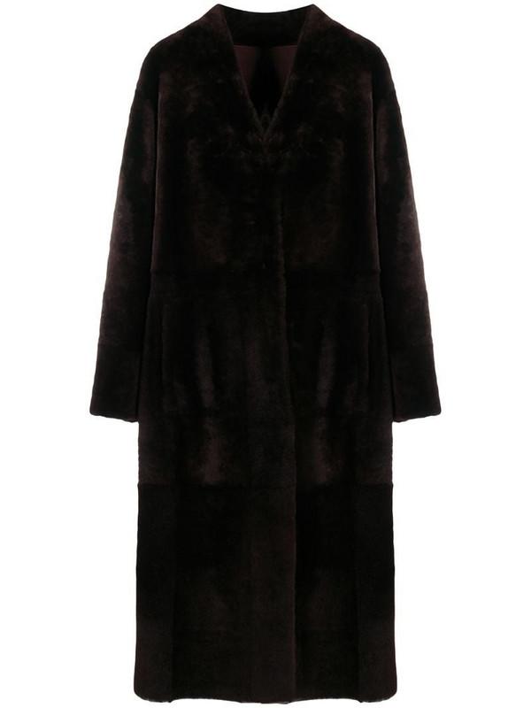 Drome shearling tie waist coat in brown