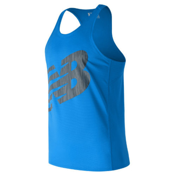 New Balance 71067 Men's Accelerate Graphic Singlet - Blue/Black (MT71067ELB)