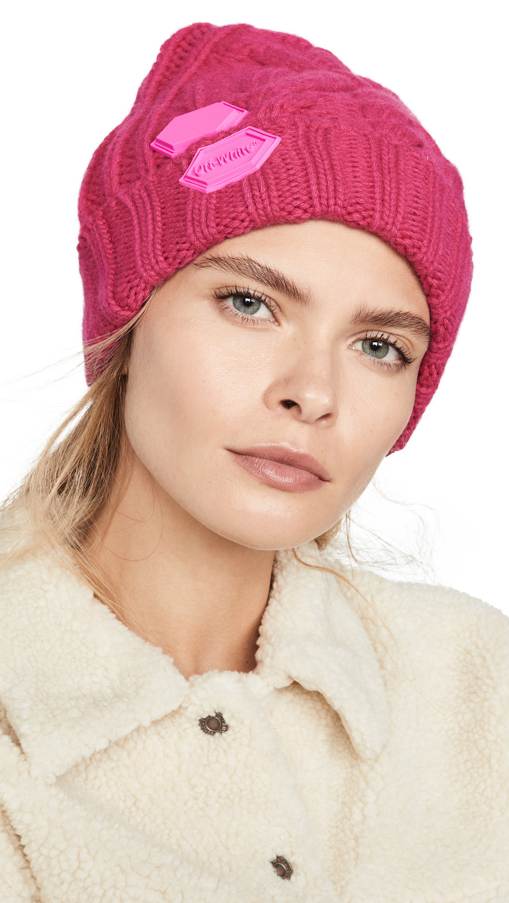 Off-White Knit Pop Color Hat in fuchsia