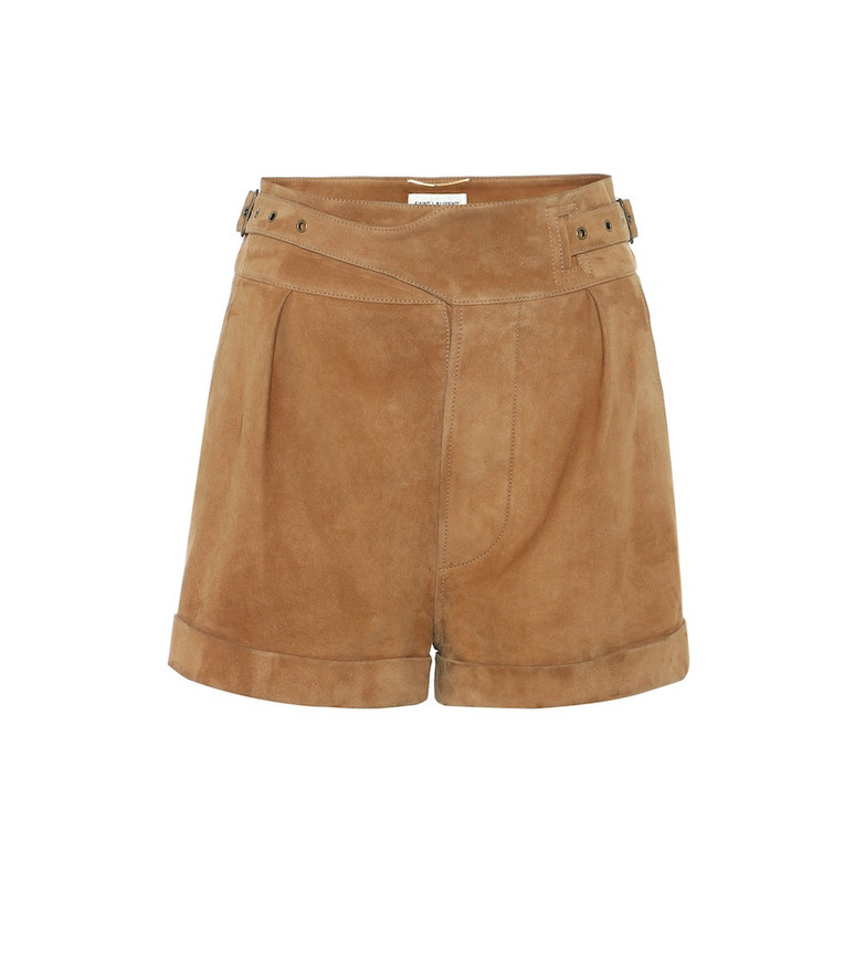 Saint Laurent High-rise suede shorts in brown