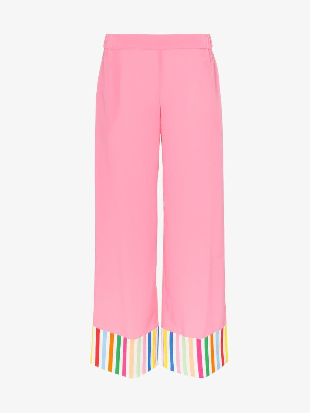 Mira Mikati contrast stripe wide leg trousers in pink