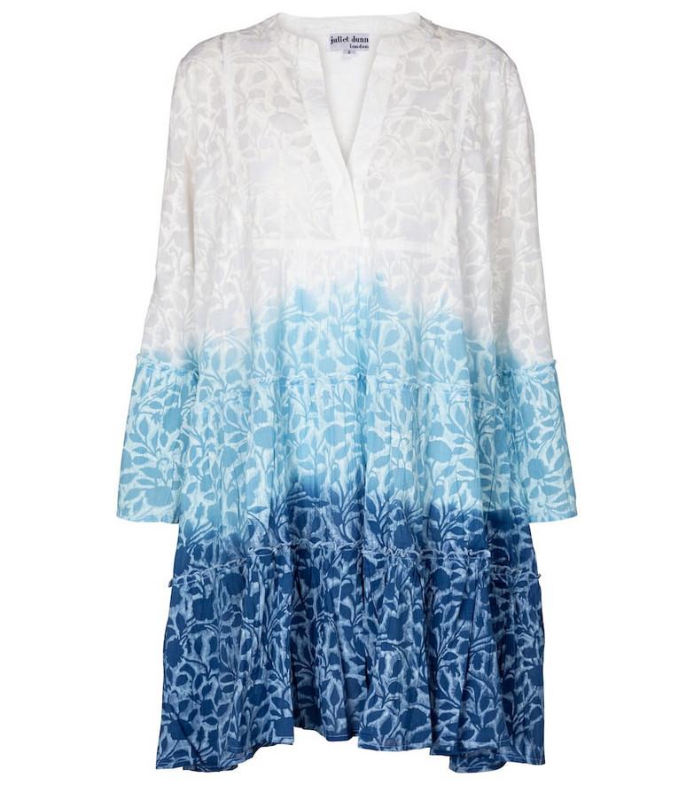 Juliet Dunn Ombré printed cotton minidress in blue