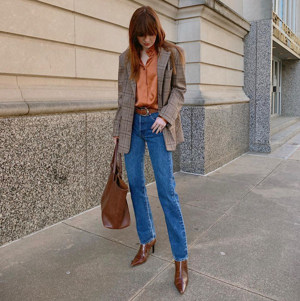 jeans straight jeans plaid blazer brown boots shirt brown bag belt