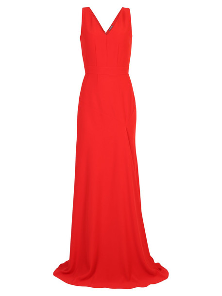 Alexander McQueen Flared Long Dress in red