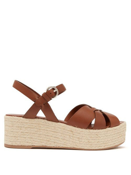 Prada - Criss Cross Leather Wedge Espadrille Sandals - Womens - Tan