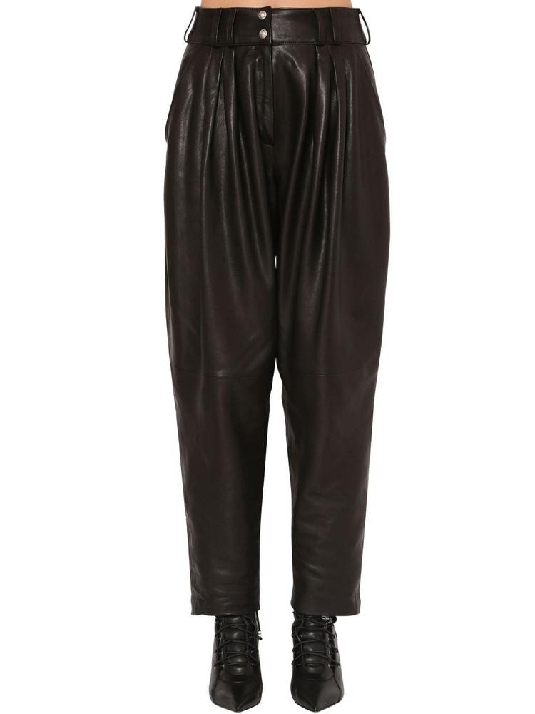 BALMAIN Pleated Leather Pants in black
