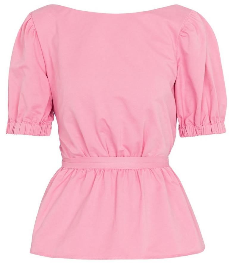 Staud Marie cotton-blend faille peplum top in pink