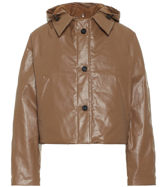 KASSL Editions Cropped coated cotton coat in brown