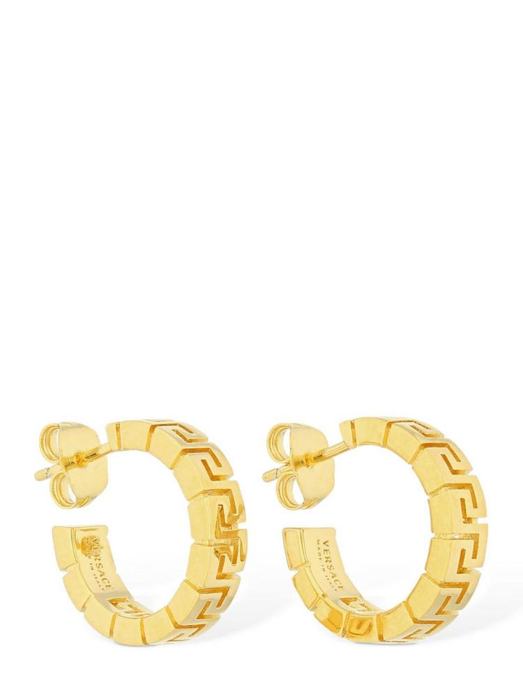 VERSACE Greek Motif Mini Hoop Earrings in gold
