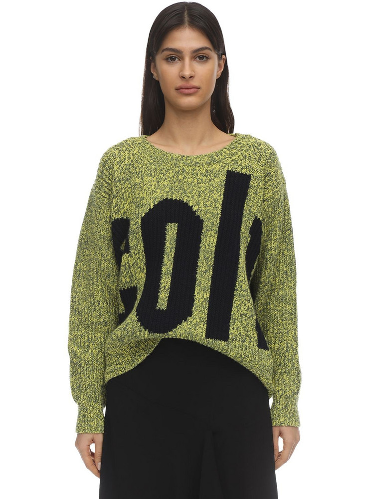COLVILLE Wool & Cotton Intarsia Knit Sweater in green / multi