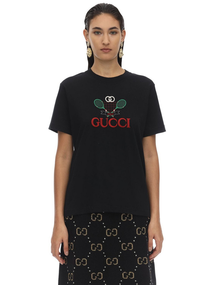 GUCCI Racket Logo Cotton Jersey T-shirt in black