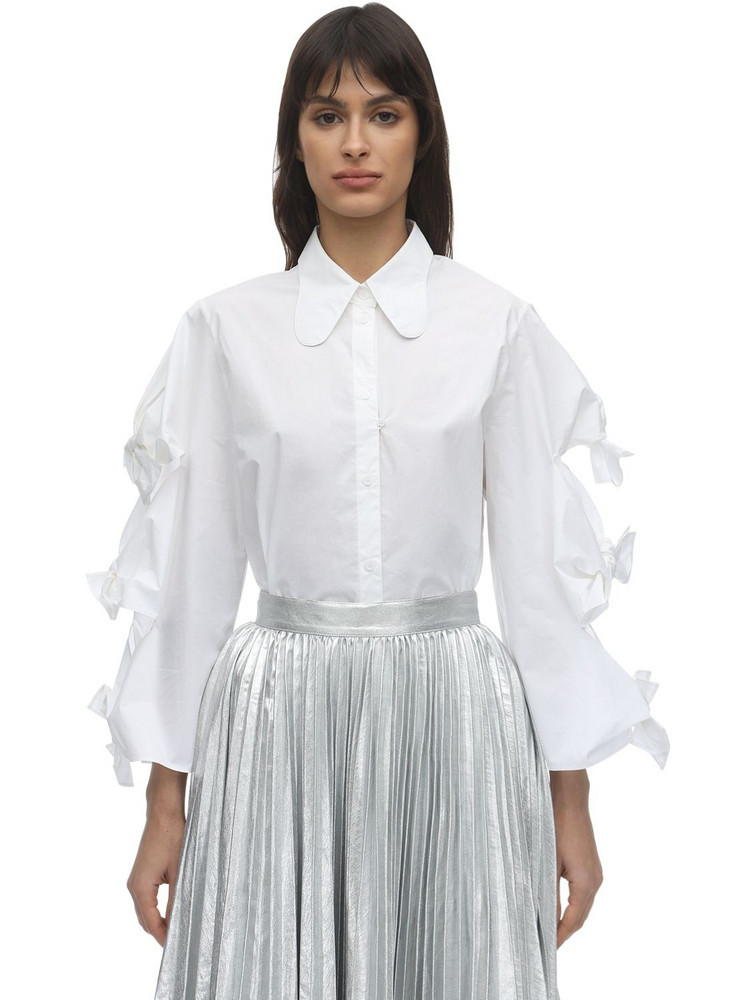 PUSHBUTTON Cotton Shirt W/ Bows in white