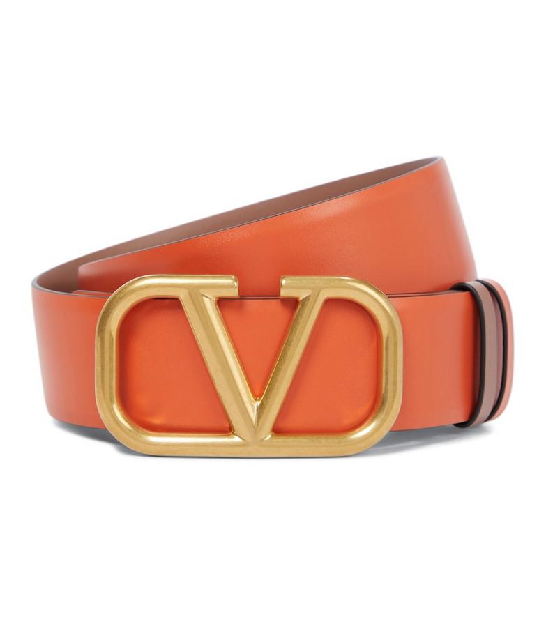 Valentino Garavani VLOGO leather belt in orange