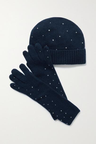 Portolano - Crystal-embellished Cashmere Beanie And Gloves Set - Blue