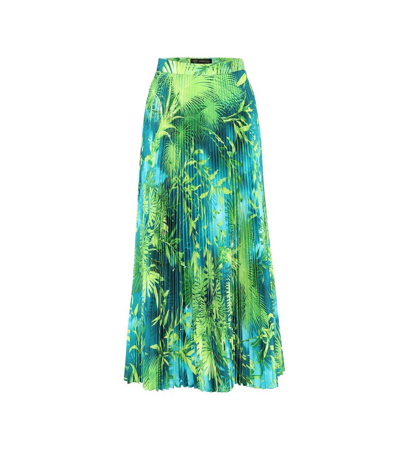 Versace Printed midi skirt in green