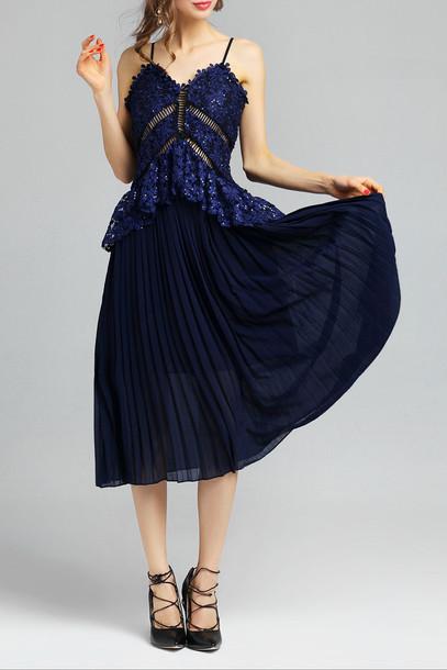 dress navy fashion trendy elegant beautiful style fancy dezzal